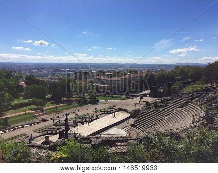 LYON - SEPTEMBER 6: Amphitheatre of the Three Gauls and the city in the background on September 6, 2016 in Lyon, France.