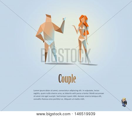 Vector polygonal illustration of couple, naked people, modern low poly object, man and woman, girl, boy, origami style human