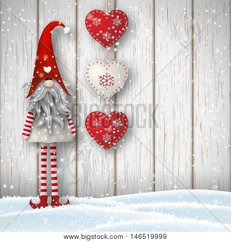 Nisser in Norway and Denmark, Tomtar in Sweden or Tonttu in Finnish, Scandinavian folklore elves, nordic christmas motive, Tomte standing in front of gray wooden wall in snow, with red decorated hearts, vector illustration, eps 10 with transparency