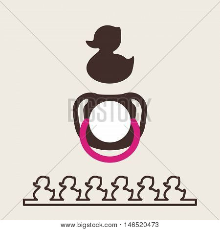 Duckling silhouette. Baby pacifier to view. Isolated Vector illustration for kids. Simple flat soother. Rubber Duck logo.