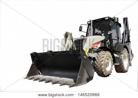 The new tractor construction machinery. Isolated. Windows in isolation.