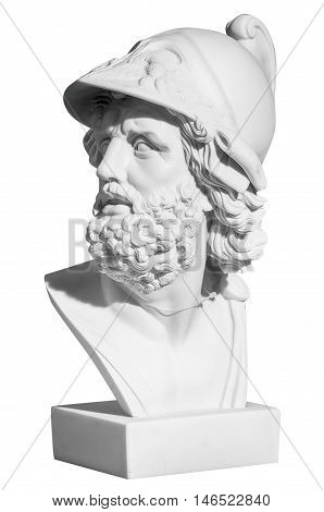 The man's head in a helmet in a classical style on a white background