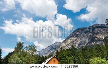 Rocky Alps in Austria with green trees and blue sky with clouds - Carinthia Austria Europe