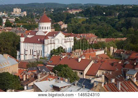Vilnius city view with Orthodox church of Holy Mother of God, Lithuania.