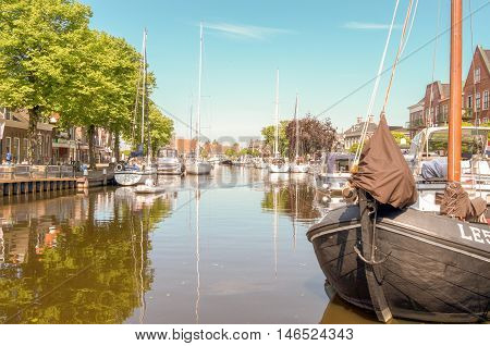 NETHERLANDS - LEMMER - MEDIA MAY 2014: Pleasure yachts and sailboats in the port of Lemmer in Friesland Netherlands.