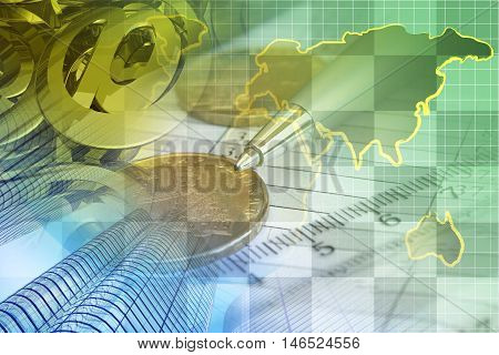 Financial background with money calculator map buildings and pen.