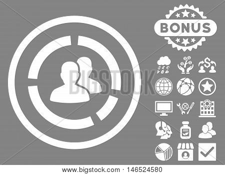 Demography Diagram icon with bonus. Vector illustration style is flat iconic symbols, white color, gray background.