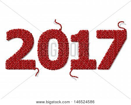 New Year 2017 of knitted fabric isolated on white. Fragments of knitting in shape of number 2017. Vector design element for new years day christmas winter holiday new years eve silvester etc