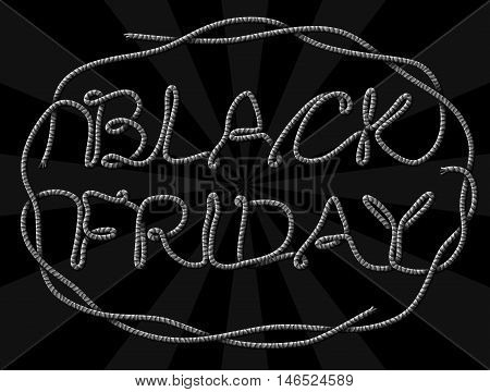 Black Friday Sale title of yarn thread. Design for christmas sales announcement. Vector image for christmas sales new years day discount winter holiday shopping season price reduction etc