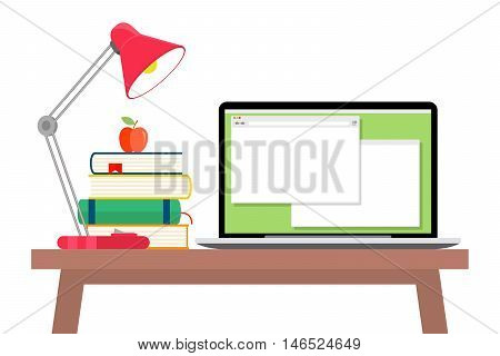 Workspace flat style. Textbook and apple, stack book and table lamp, paperwork and workplace, vector illustration