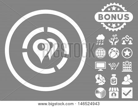 Geo Diagram icon with bonus. Vector illustration style is flat iconic symbols, white color, gray background.