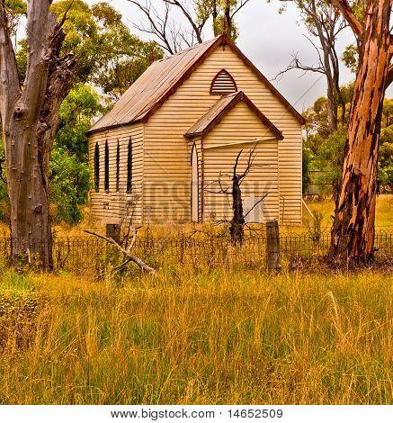 Semi Deserted Wooden Church In The Semi Arid Zone Of The Australian Outback