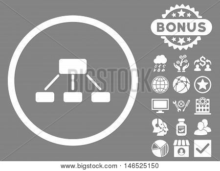Hierarchy icon with bonus. Vector illustration style is flat iconic symbols, white color, gray background.