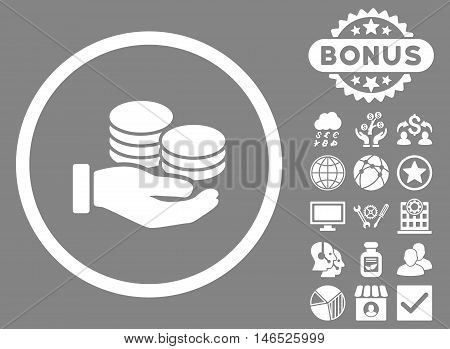 Salary Coins icon with bonus. Vector illustration style is flat iconic symbols, white color, gray background.