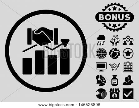 Acquisition Graph icon with bonus. Vector illustration style is flat iconic symbols, black color, light gray background.