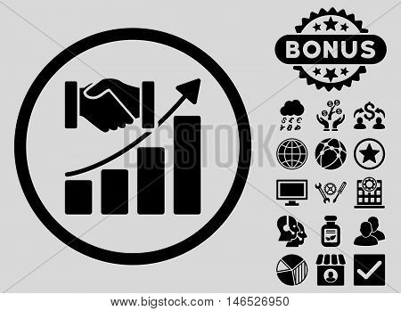 Acquisition Growth icon with bonus. Vector illustration style is flat iconic symbols, black color, light gray background.