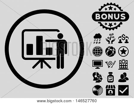 Bar Chart Presentation icon with bonus. Vector illustration style is flat iconic symbols, black color, light gray background.