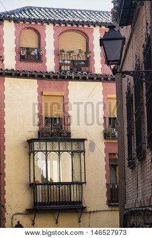 Toledo (Castilla-La Mancha Spain): old typical building in the historic city with veranda