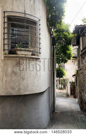 Typical street at Riva San Vitale (Ticino Switzerland) along the Lake of Lugano (Ceresio).
