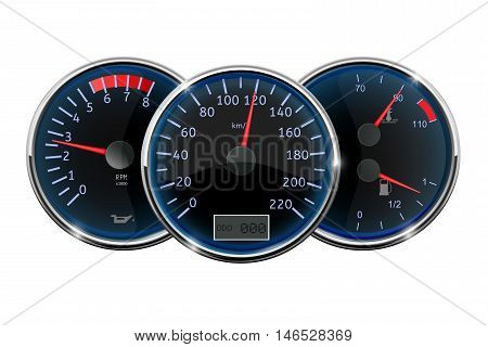 Car dashboard. Speedometer tachometer fuel gauge.Vector illustration isolated on white background