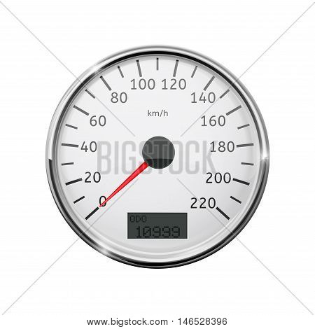 Speedometer. Realistic illustration with chrome frame. Vector isolated on white background