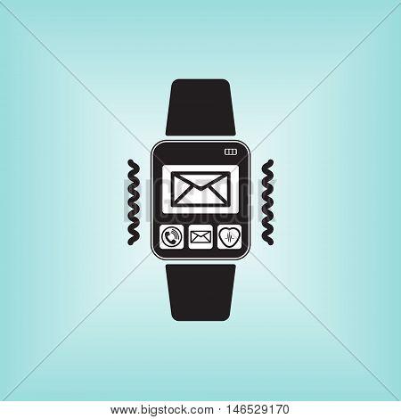 Smart watch new message icon. Smart watch isolated logo. New message sign at smart watch.