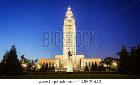 Louisiana State Capitol Building against clear sky at night in Baton Rouge
