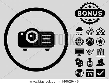 Projector icon with bonus. Vector illustration style is flat iconic symbols, black color, light gray background.