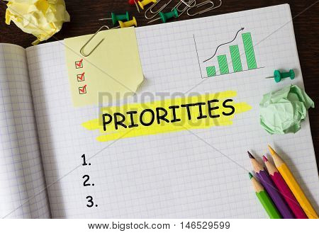 Notebook with Tools and Notes about Priorities concept