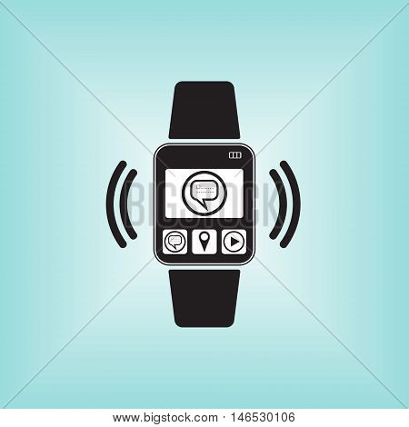 New message vector sign at smart watch logo. Smart watch isolated. Smart watch sign.