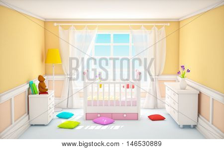 Beige baby's bedroom with crib in classic style. 3d illustration.