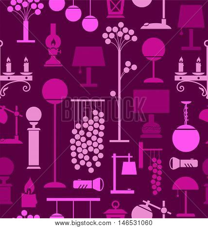 Lamps for home and garden, background, seamless, purple. Vector background with different lamps. Pink flat image on a purple background.