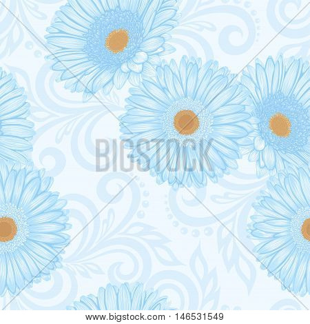 Beautiful seamless pattern with gerbera flowers and abstract floral swirls