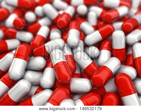 Red and white capsules , Pharmaceutics , 3d illustration