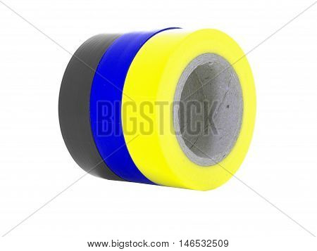 Black blue yellow insulating tape rolls isolated on white background