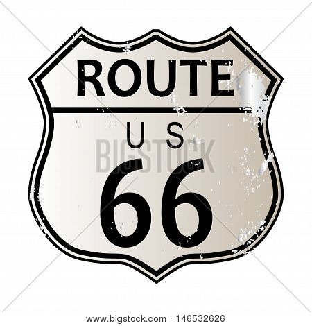 Route 66 traffic sign over a white background and the legend ROUTE US 66