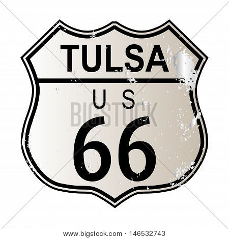 Tulsa Rosa Route 66 traffic sign over a white background and the legend ROUTE US 66