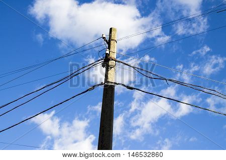 electric pole on a beautiful sky background