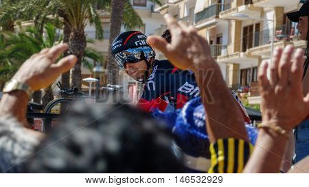 JAVEA - SEPTEMBER 9: Darwin Atapuma smiles to the crowd while prepares for the start of the decisive time trial stage of La Vuelta on September 9, 2016 in Alicante, Spain