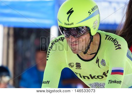 JAVEA - SEPTEMBER 9: Alberto Contador prepares for the start of the decisive time trial stage of La Vuelta on September 9, 2016 in Alicante, Spain