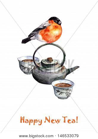 Christmas greeting card with chinese set for tea ceremony and cute bird. Watercolor