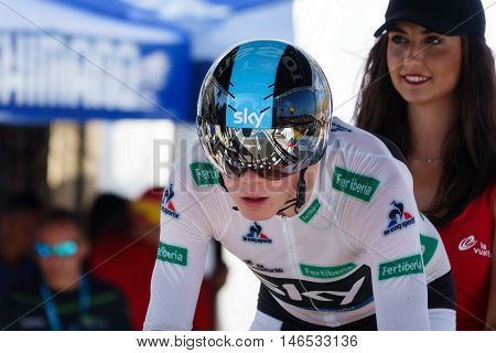 JAVEA - SEPTEMBER 9: Chris Froome prepares for the start of the decisive time trial stage of La Vuelta on September 9, 2016 in Alicante, Spain