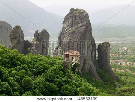 Breathtaking View of Meteora Monastery in Greece