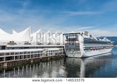 Vancouver, Canada - April 19, 2016: Star Princess cruise ship in city port in Canada Place