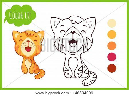 Cute cat. Cartoon kitty character isolated on a white background with black outline for coloring book for preschool.