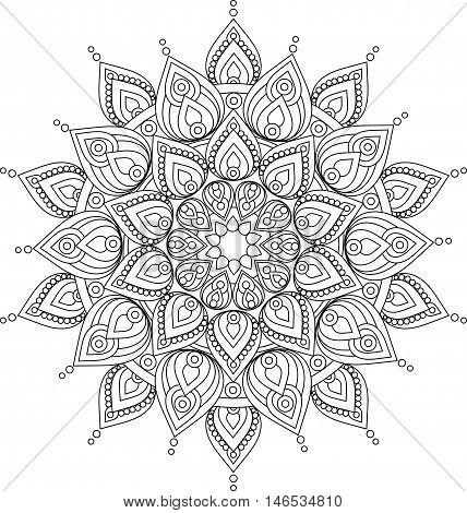 Hand drawn doodle ornate mandala illustration. Vector mandala drawing for coloring books