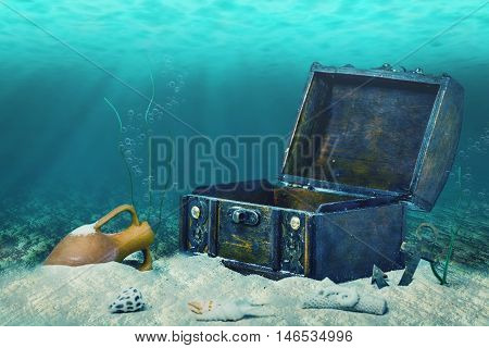 Beautiful Collage Of Closed Old Wooden Treasure Chest Submerged Underwater World With Anchor, Amphor