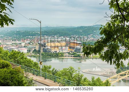 Pittsburgh, USA - June 3, 2016: View of Heinz field in with Allegheny river