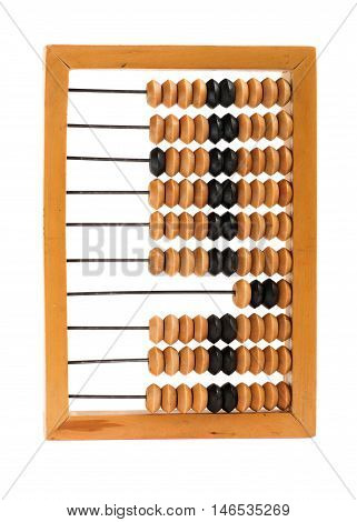 Old obsolete abacus isolated on white background