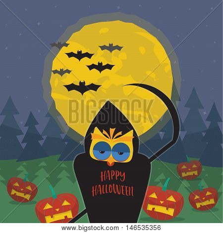 Halloween illustration with owl in the image of death with a scythe.  Dark forest, pumpkins, bats and the moon on a background of the starry sky